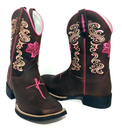 Bota Texana Country Feminina Bico Quadrado Cano Longo Rosa