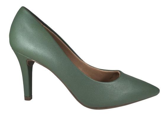 Sapato Feminino Bico Fino Scarpin Verde Militar Mariotta