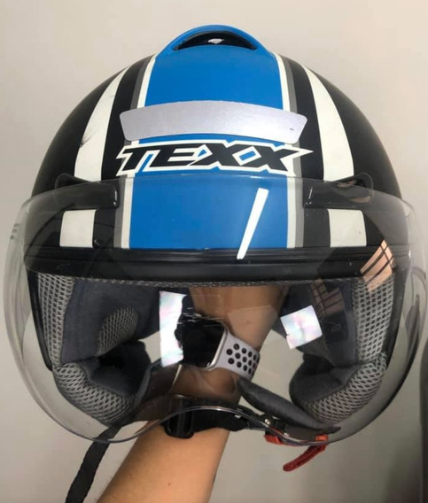 Capacete Texx Arsenal Com Forro Especial Preto E Azul