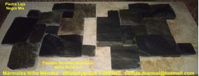 Piedra Laja Natural Negra Mix Formato Versalles Malla 30x30
