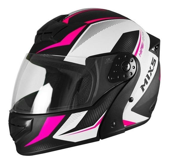 Capacete para moto escamoteável Mixs Gladiator Neo Fosco rosa tamanho 60