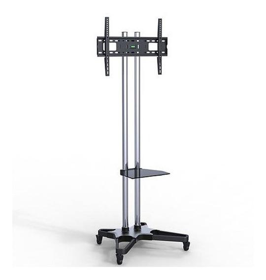 Pedestal Cromado De Tv 37 - 70 Com Rolamentos E Prateleira