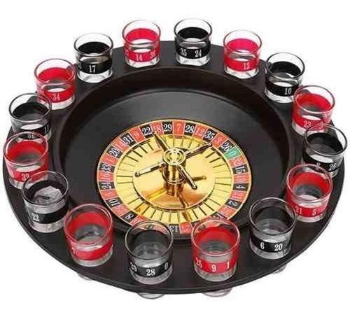 Imagem 1 de 3 de Jogo De Roleta Drink Shot 16 Copos Vidro Bebida Cassino