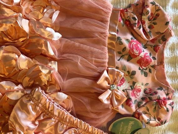 Nannette Baby Vestido Rosa De Festa Menina 2 Peças