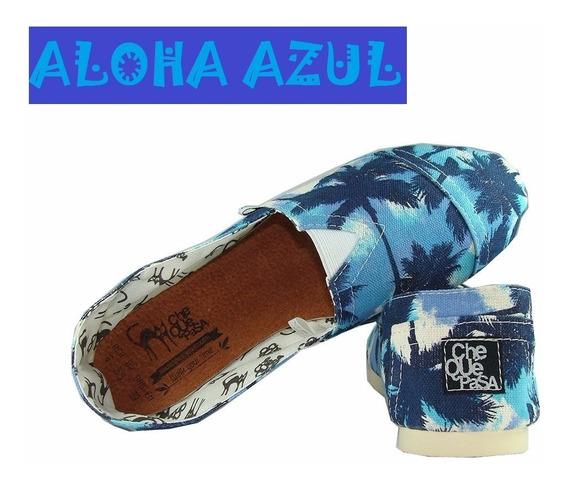 Aloha Azul Y Aloha Roja - Alpargatas De Diseño Chequepasa