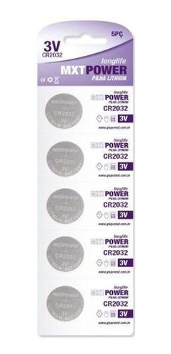 Imagem 1 de 4 de Kit Pilha Bateria Lithium Mxt Power 3volts Cr2032 5 Unidades