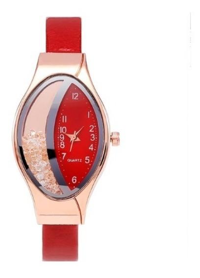 Relógio Feminino Vermelho Com Pedras Pulseira Couro