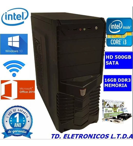 Cpu Gamer Core I3 3g/16gb Ddr3 /hd 500gb /wifi/1gb Video
