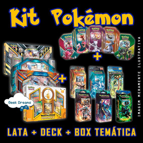 Kit Pokémon - Box Temática + Deck + Lata + Brinde