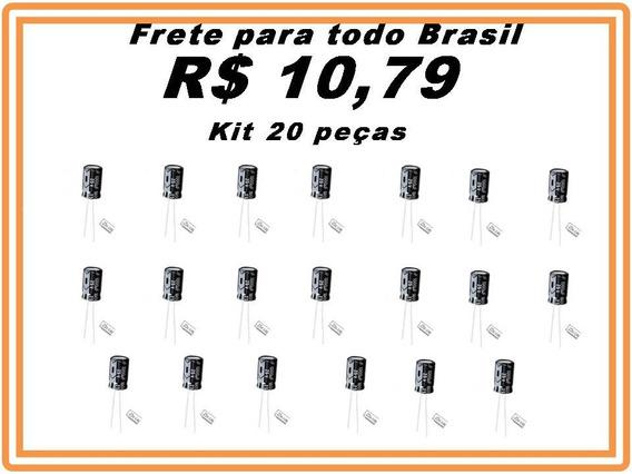 Capacitor Eletrolitico 1000uf X 25v Kit 20 Pçs Promoção