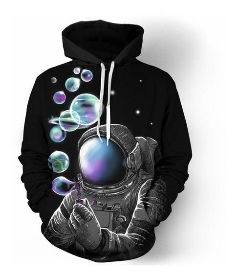 Blusa Moletom 2pac Full 3d Astronauta Et Galaxia Promoção