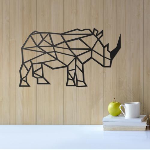 Quadro Decorativo Parede Animal Rinoceronte Minimalista 30cm