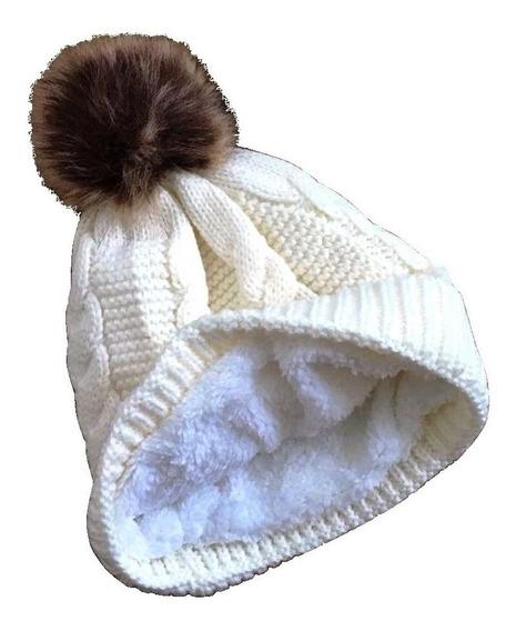 Touca Gorro De Lã Com Pompom De Pelinho Forrada Várias Cores