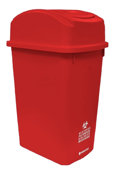 Bote De Basura Contenedor Rojo Residuos Peligrosos Rpbi 65lt