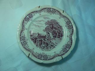 Antiguo Plato Decorativo De Loza Inglesa Grindley C/ Soporte