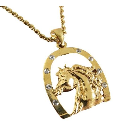 Colar Cordão Country Cavalo E Ferradura Folheado A Ouro 18k