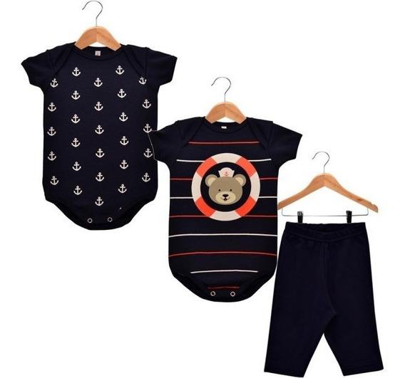 Kit Bebê Com 2 Bodies + Calça Ursinho Marinheiro! Suedine