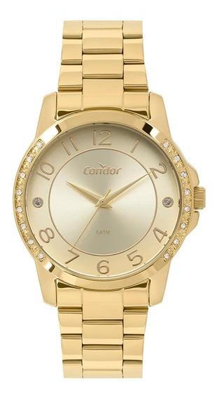 Relógio Condor Feminino Dourado Felicidade Fashion C/ Nf