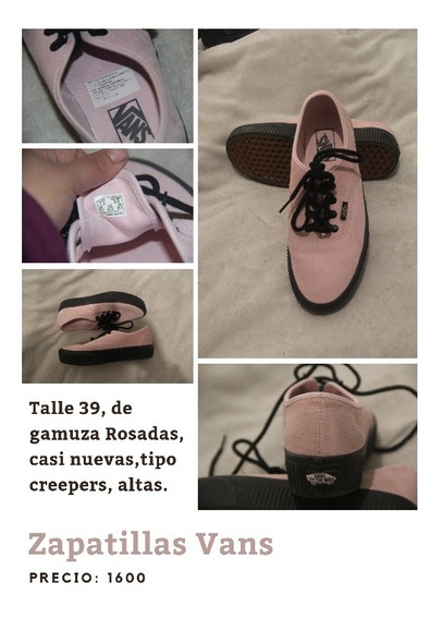 Zapatillas Vans Altas Gamuza Rosa Tipo Creepers