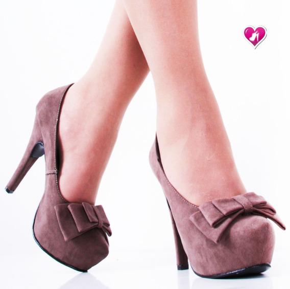 Stilletto Taco Fino Gamuzado Modelo Mia 2 De Shoes Bayres