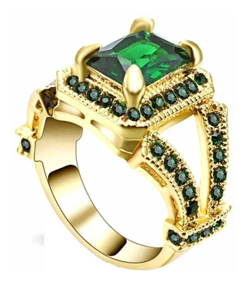 Anel Feminino Vazado Pedra Cristal Esmeralda Verde Beleza Natural Cor Serenidade Mulher Presente Dia Namorados 466