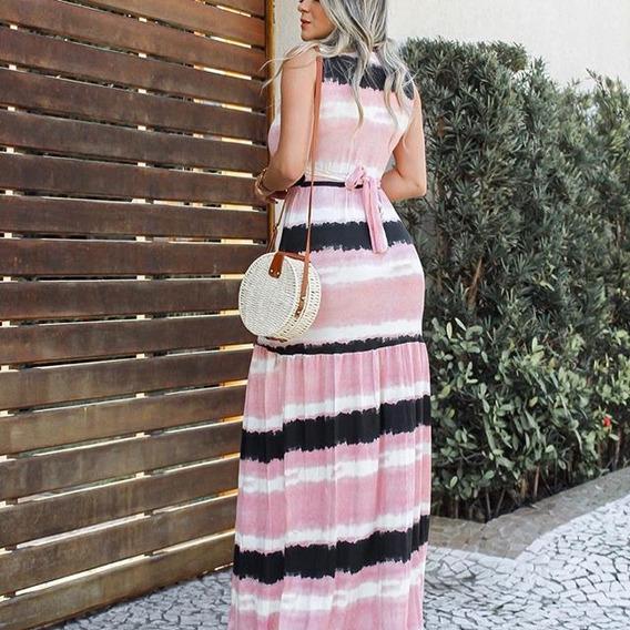 Vestido Feminino Longo Tie Dye Com Fenda Moda Blogueira