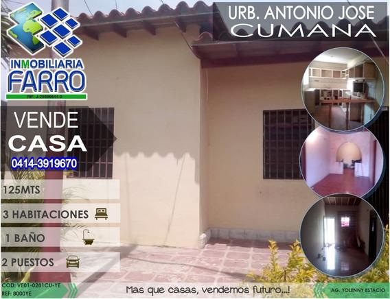 Venta De Casa En Cumana Ve01-0281cu-ye
