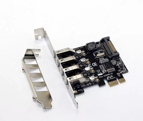 Placa Pci-express X1 Usb 3.0 5gbps 4 Portas - Com 2 Espelhos