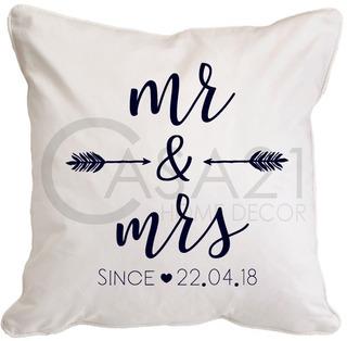 Funda Personalizable Mr & Mrs 45 X 45 Loneta Algodón