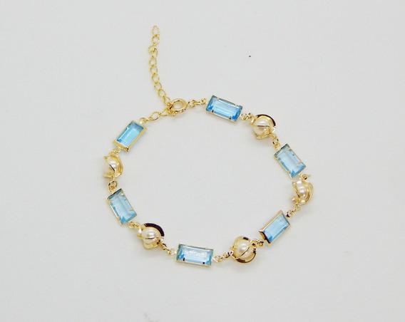 Pulseira Pedra Azul E Perolas Banhada A Ouro 18k