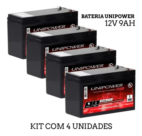 Kit 4 Bateria Unipower 12v 9ah Alarme, Nobreak, Frete Gratis