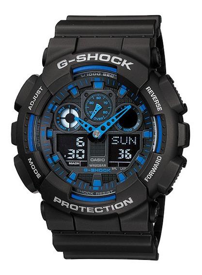 Relógio Casio G-ahock Ga-100-1a2 Gshock Ga100 Ponteiro Azul