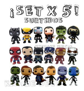 Set X5 Simil Pop Funko Marvel Dc 10cm Avengers Super Promo