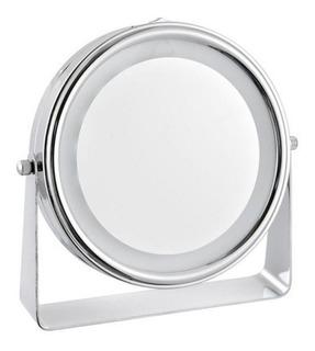 Espejo Metal Con Aumento Y Luz Led Baño Maquillaje Belleza