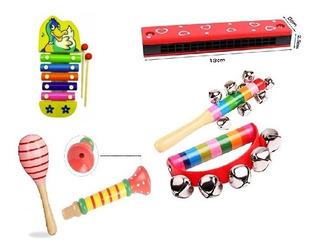 Kit Set Musical 6 Instrumentos Infantil Colores Varón Nena