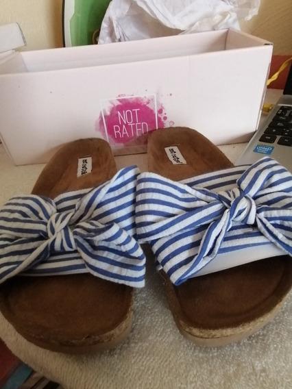 Sandalias Not Rated Con Rayas Azul Y Blanco #22cm