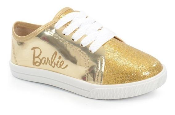Tênis Barbie Metalizado Branco Ouro - 21664