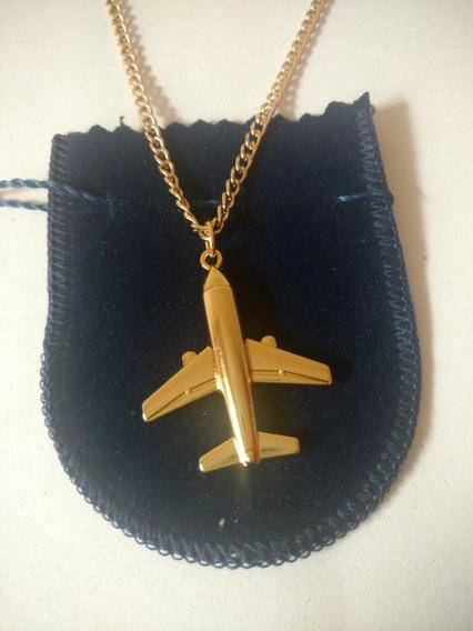 Colar Avião Aeromoça Piloto Ouro 18k