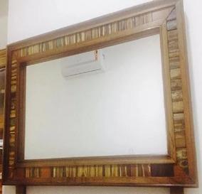 Espelho Em Moldura De Madeira Demolição Viva Oferta
