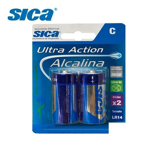 Pila Alcalina C Mediana Blister X 2 Unidades Sica