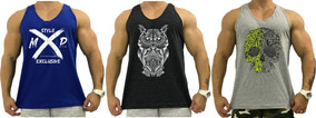 Kit 3 Regatas Cavada Masculino Camiseta Blusas Musculação