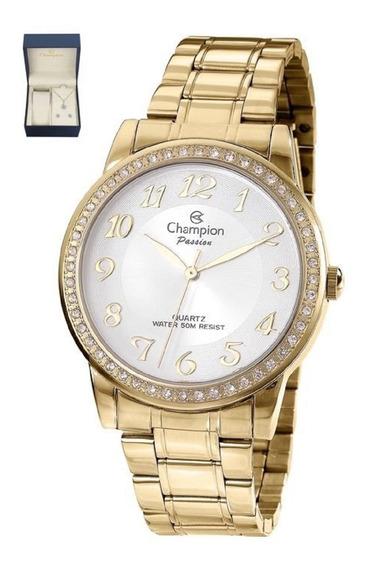 Kit Relógio Feminino Champion Dourado Ouro 18k Cn29463b