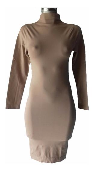 Vestido Lapiz Cuello Alto Spandex Kardashian Manga Larga