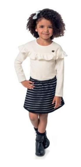 Conjunto Milon Roupa Infantil Festa Saia Rosa Inverno Tam 6