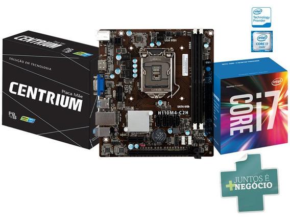 Placa Mae Com Processador Core I7-6700 3.4ghz Intel H110m