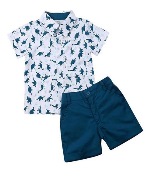 Ropa Para Niño Camisa Dinosaurios Y Short Algodón