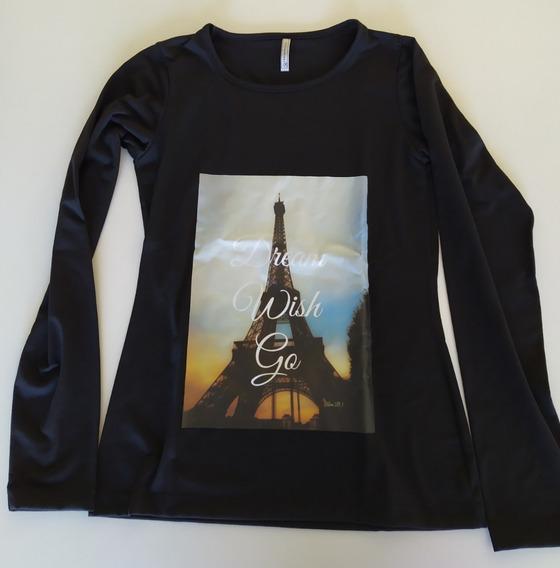 Remera Negra De Modal Y Lycra Dama , Estampa Torre Eiffel