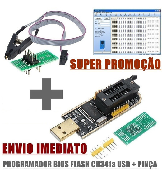 Programador Gravador Eprom Ch341a + Pinça Jacaré 24xx 25xx