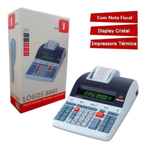 Calculadora Olivetti Logos 804t - Original Lacrado C/ Garantia Térmica Display De Cristal 14 Dígitos Display 2 Cores
