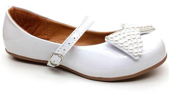 Sapato Boneca Infantil Bea Kid 07246 Verniz Branco Pixolé